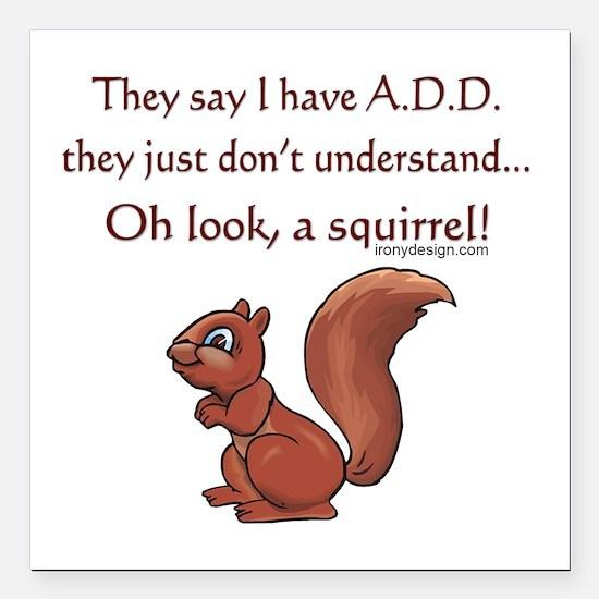 "ADD Squirrel Square Car Magnet 3"" x 3"""
