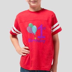 1st Birthday Girl Youth Football Shirt