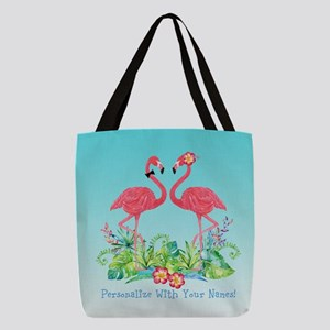 PERSONALIZED Flamingo Couple Polyester Tote Bag
