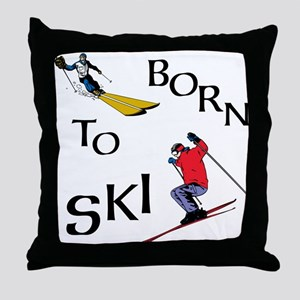 Born To Ski Throw Pillow