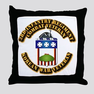 Army - 3rd Infantry Regiment w Korea Throw Pillow