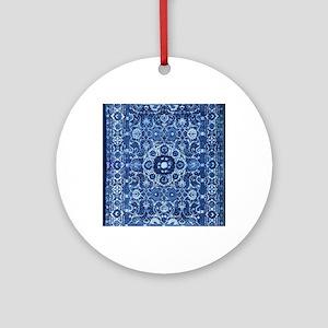 Oriental Rug Blue Round Ornament