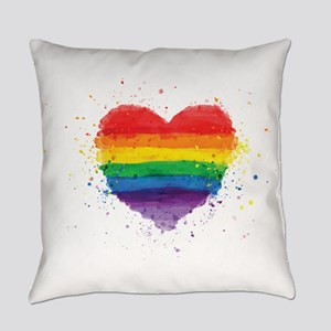 Gay Pride - LGBT Rainbow Heart Everyday Pillow
