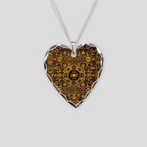 Oriental Rug Brown Necklace Heart Charm