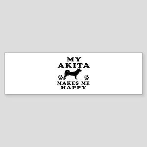My Akita makes me happy Sticker (Bumper)