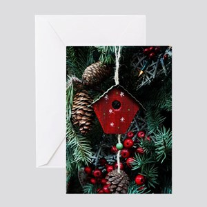 Birdhouse Christmas decoration Greeting Cards