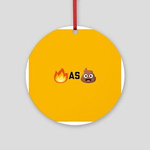 Lit as Shit Emoji Round Ornament