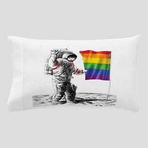 Gay Pride - Man Landing on Moon Rainbo Pillow Case