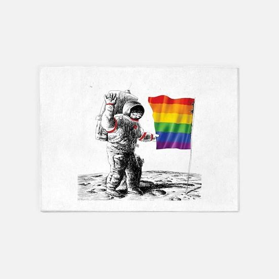 Gay Pride - Man Landing on Moon Rai 5'x7'Area Rug