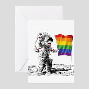 Gay Pride - Man Landing on Moon Rai Greeting Cards