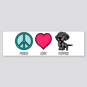 Peace Love & Puppies Bumper Sticker