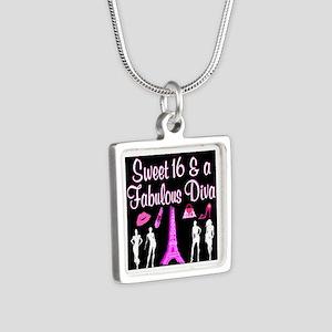 16TH PARIS GIRL Silver Square Necklace