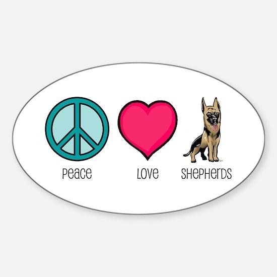 Peace Love & German Shepherds Oval Decal