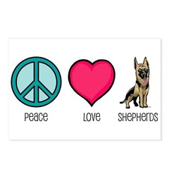 Peace Love & German Shepherds Postcards (Package o