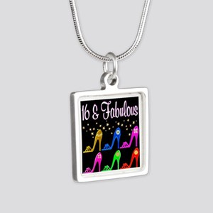 16TH SHOE QUEEN Silver Square Necklace
