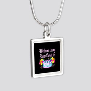 SUPER SWEET 16 Silver Square Necklace