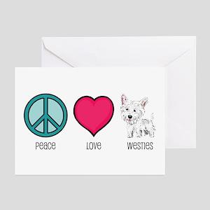Peace Love & Westies Greeting Cards (Pk of 10)