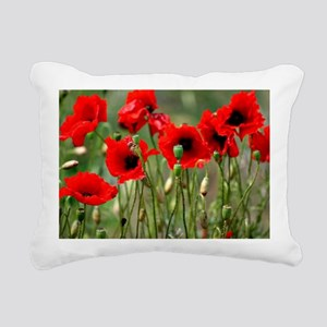 Poppy-Red Poppies Rectangular Canvas Pillow