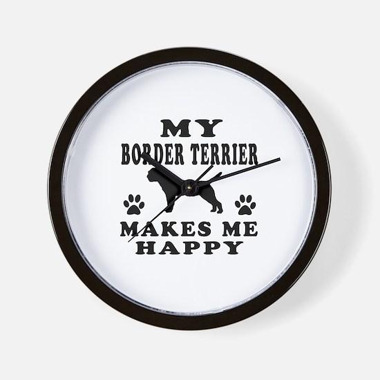 My Border Terrier makes me happy Wall Clock