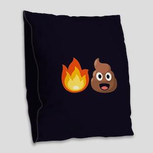 Hot Shit Emoji Burlap Throw Pillow