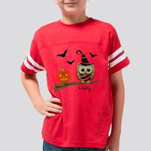 Custom name Halloween owl Youth Football Shirt