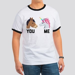You VS Me Unicorn Emoji Ringer T