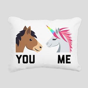You VS Me Unicorn Emoji Rectangular Canvas Pillow