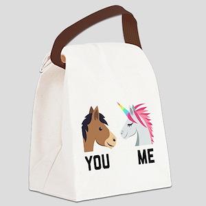 You VS Me Unicorn Emoji Canvas Lunch Bag