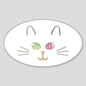 Rainbow Kitty Oval Sticker