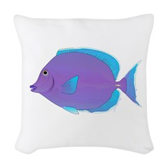 Blue tang Surgeonfish Woven Throw Pillow