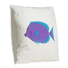Blue tang Surgeonfish Burlap Throw Pillow