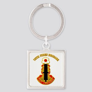 DUI - 75th Fires Brigade with Text Square Keychain