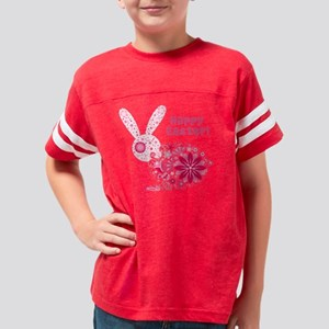 Pink Floral Bunny Youth Football Shirt