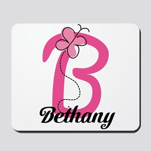 Personalized Monogram Letter B Butterfly Mousepad