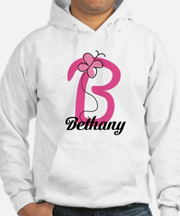 Personalized Monogram Letter B Butterfly Hoodie