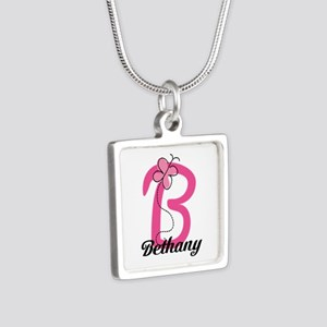 Personalized Monogram Letter B Butterfly Silver Sq