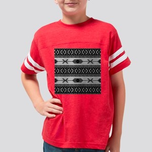 Black And White Aztec Pattern Youth Football Shirt