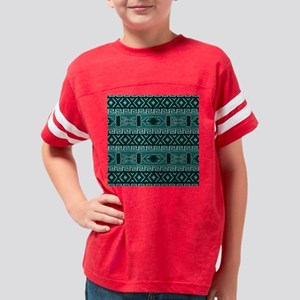 Turquoise Aztec Pattern Youth Football Shirt