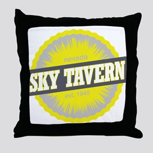 Sky Tavern Ski Resort Nevada Yellow Throw Pillow