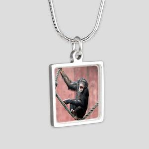 Chimpanzee001 Silver Square Necklace