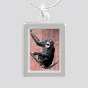 Chimpanzee001 Silver Portrait Necklace