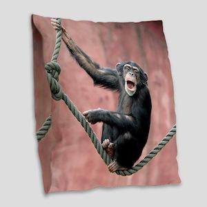 Chimpanzee001 Burlap Throw Pillow