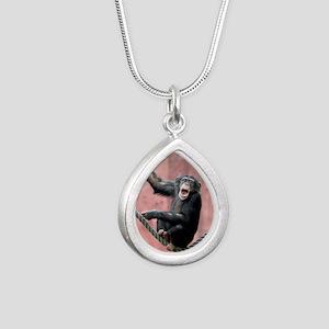 Chimpanzee001 Silver Teardrop Necklace