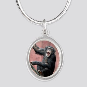 Chimpanzee001 Silver Oval Necklace