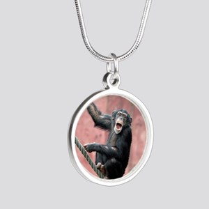 Chimpanzee001 Silver Round Necklace
