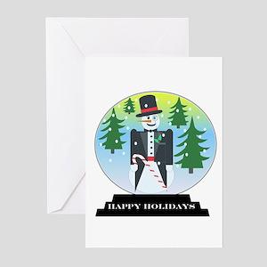 Vintage Snowman Snow Globe Greeting Cards