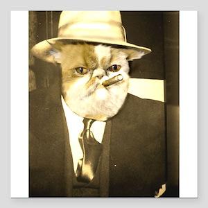 """Cat Capone Square Car Magnet 3"""" x 3"""""""