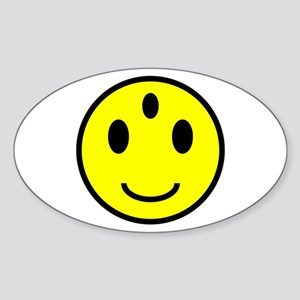 Enlightened Smiley Face Oval Sticker
