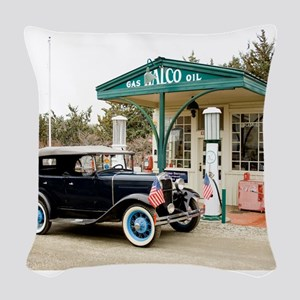 Model A at gas station Woven Throw Pillow