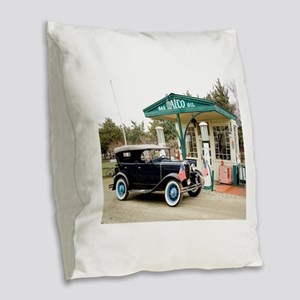Model A at gas station Burlap Throw Pillow
